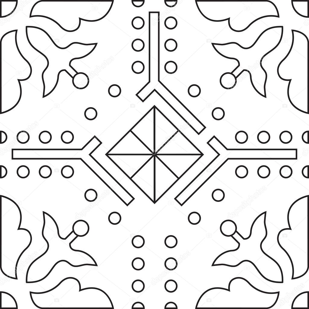 Unique coloring book square page for adults - seamless pattern tile ...