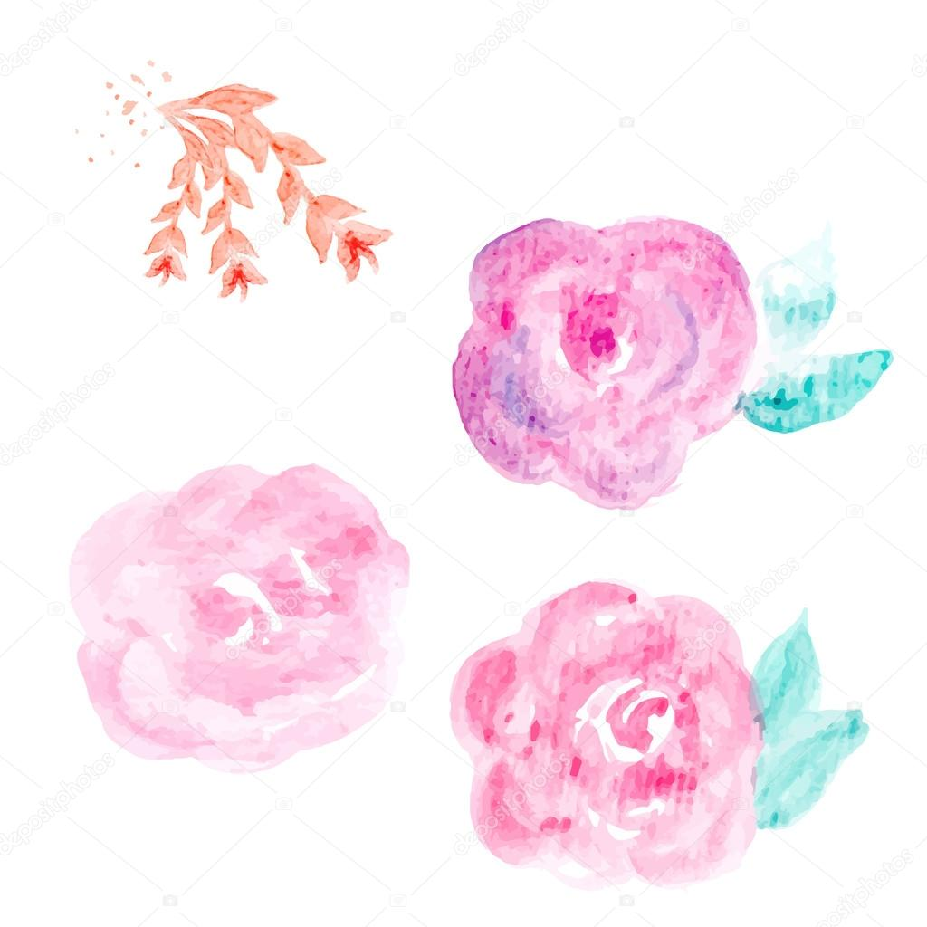 Watercolor Flower Vector. Round Watercolor Flowers. Abstract Flo