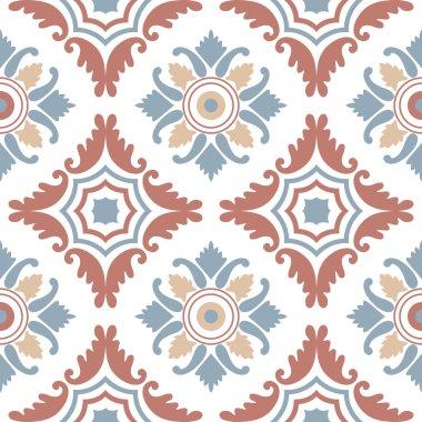 Portuguese tiles, seamless pattern. Vintage background - Victorian ceramic tile