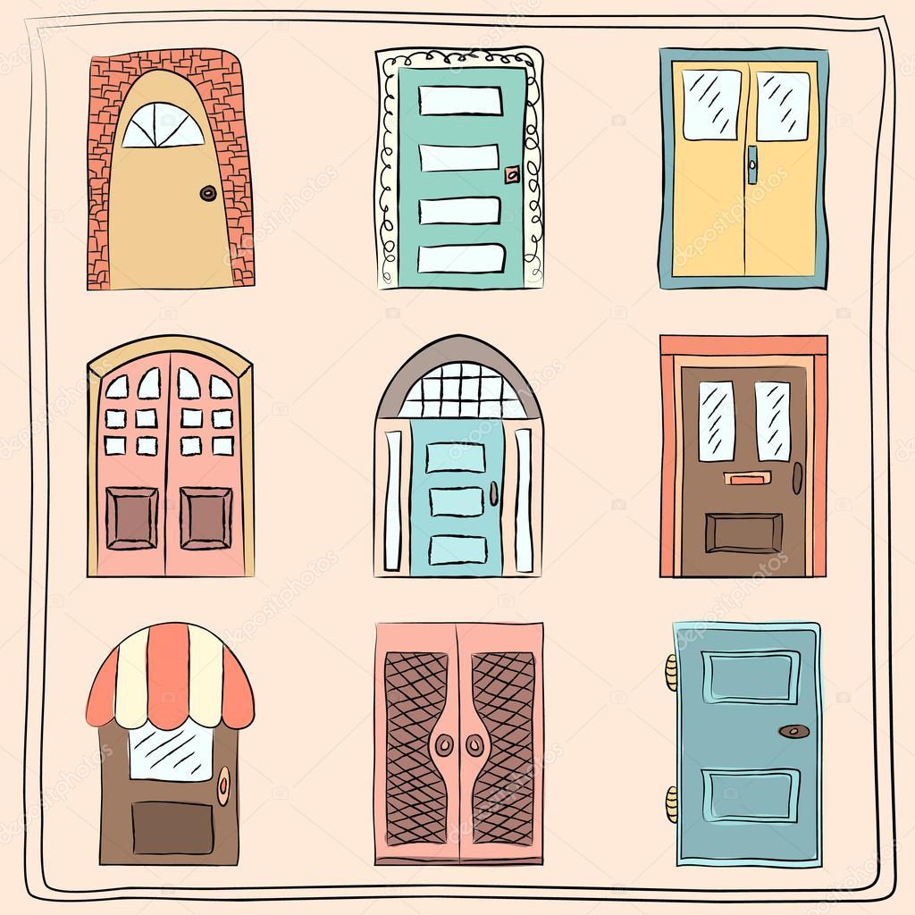 коллекция старых дверей значок изолированных иллюстрация вектор