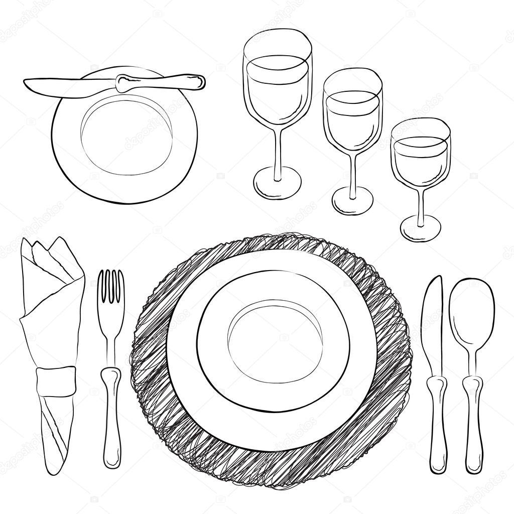 Gedeckter tisch gezeichnet  Tabelleneinstellung. Weiß und klar Geschirr und Essen Utensilien ...