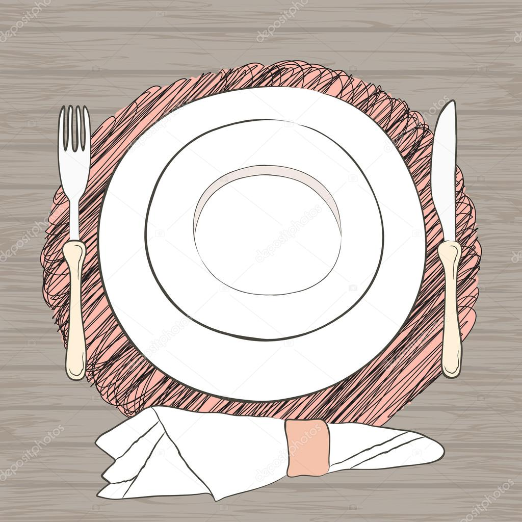 Informal vector table setting. Tableware and eating utensils are set ...
