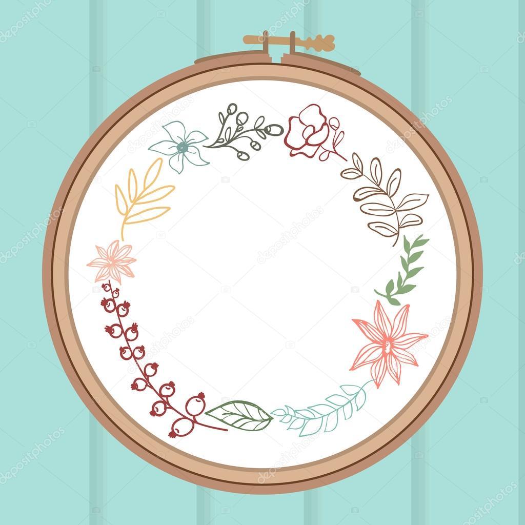 Tarjeta linda con ramo de flores de laurel en el bastidor de bordado ...
