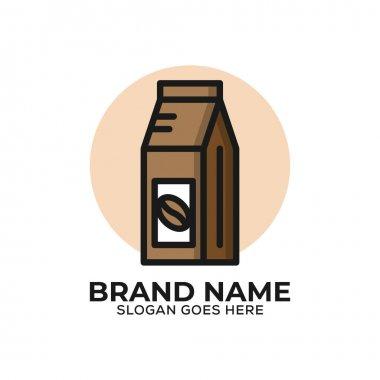 Coffee bean wrap logo design vector, flat design organic coffee store logo template icon