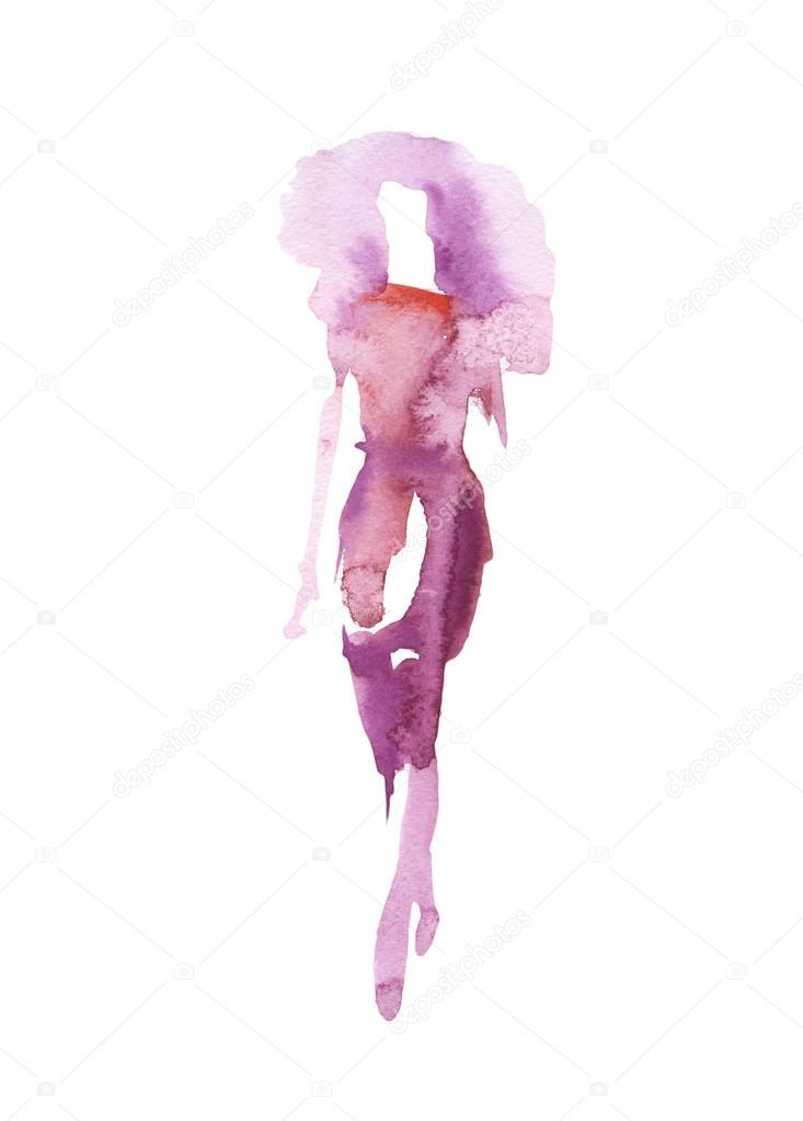 Silueta de una niña en un vestido púrpura ropa muestra ilustración ...