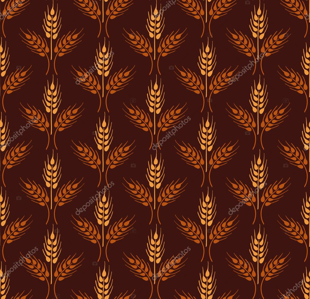 Seamless Vintage Pattern With Waves Of Yellow And Orange Wheat. Brown Agricultural Background