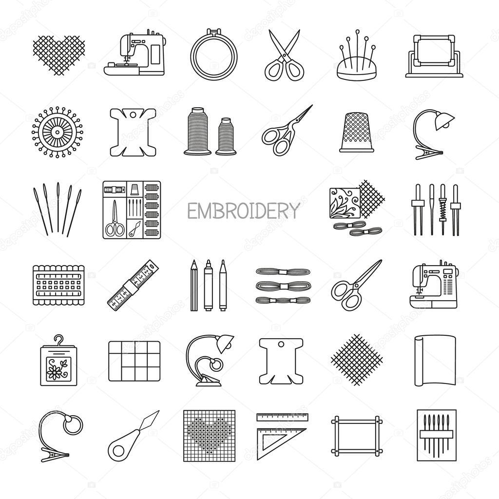 Set Di Icone Di Ricamo Riga Cross Stitch E Fancywork