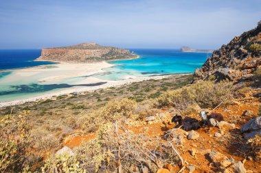 beautiful Balos Lagoon and Gramvousa Island in Crete