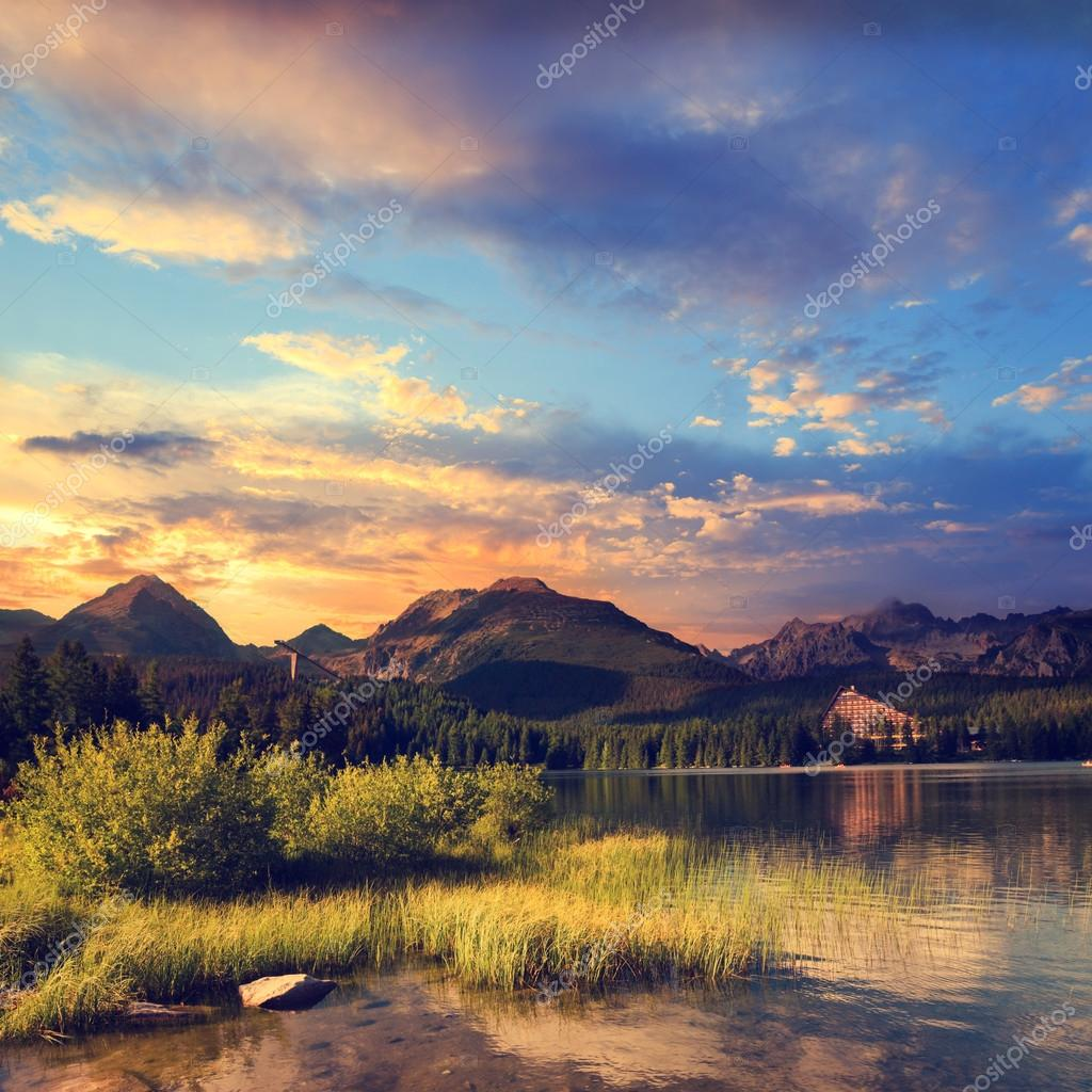 Mountain lake in National Park High Tatra, Strbske pleso, Slovakia, Europe