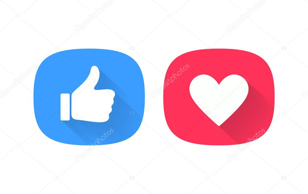 Thumb up and heart icon. Vector like and love icon. Ready like and favorites button design for use in UI. icon