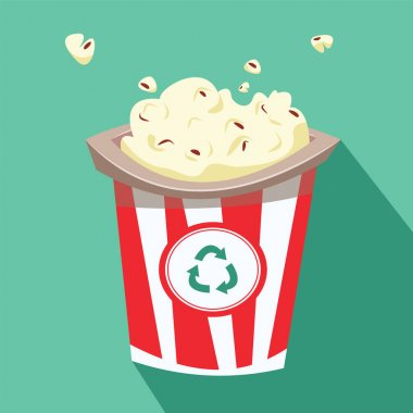 Popcorn in a bucket made from recycled materials. Flat vector illustration. icon