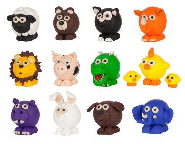 Cute plasticine animals collection.