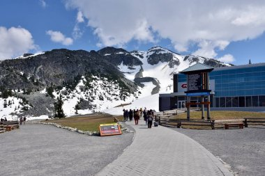 WHISTLER, BC, CANADA, MAY 30, 2019: Peak 2 Peak gondola building on top of Whistler Blackcomb Mountain. stock vector