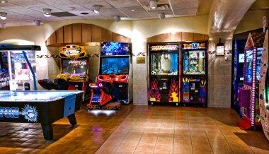 Verona, New York, USA. November,4,2014. arcade and gaming room at the Turning Stone Casino in Verona , New York stock vector