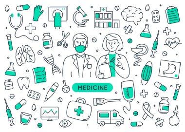 Medicine doodle elements set isolated. icon