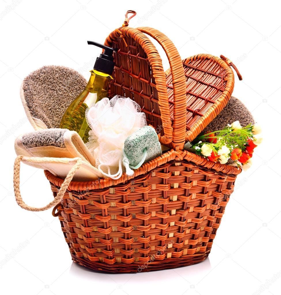 plus récent 66d52 07249 Natural bath sponges, pumice, gel and flowers in the basket ...