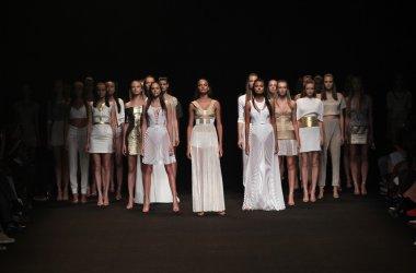 Models walk the runway finale at the Meskita fashion show