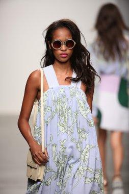 Model walks the runway at Karen Walker Spring-Summer 2015 fashion show