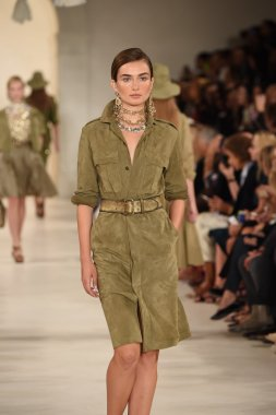Model walks the runway at Ralph Lauren fashion show