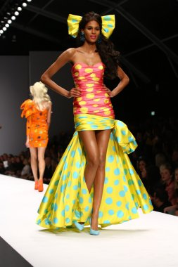 Model walks the runway during the Moschino show