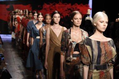 Models walk the runway finale at Donna Karan New York show