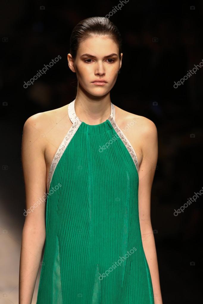 Model walks the runway during the Salvatore Ferragamo