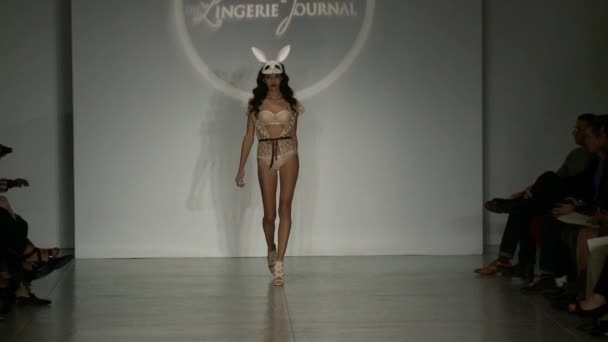 A model walks runway at Finale Runway Show during Lingerie Fashion week closing benefit Spring 2015 collection