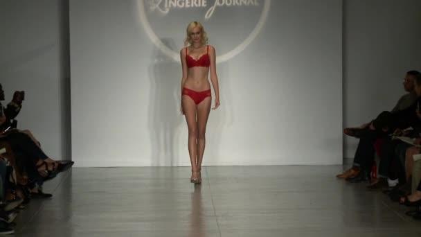 New York, Ny - 25. října: Model procházky dráhy na finále dráhy Show během týdne spodní prádlo Móda blíží prospěch jaro 2015 sbírky na centrum 548 25 října 2014 v New York City