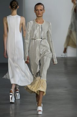Model Hanne Gaby Odiele walk the runway at the Calvin Klein Collection fashion show