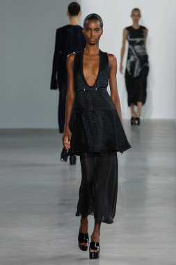 Model Tami Williams walk the runway at the Calvin Klein Collection fashion show