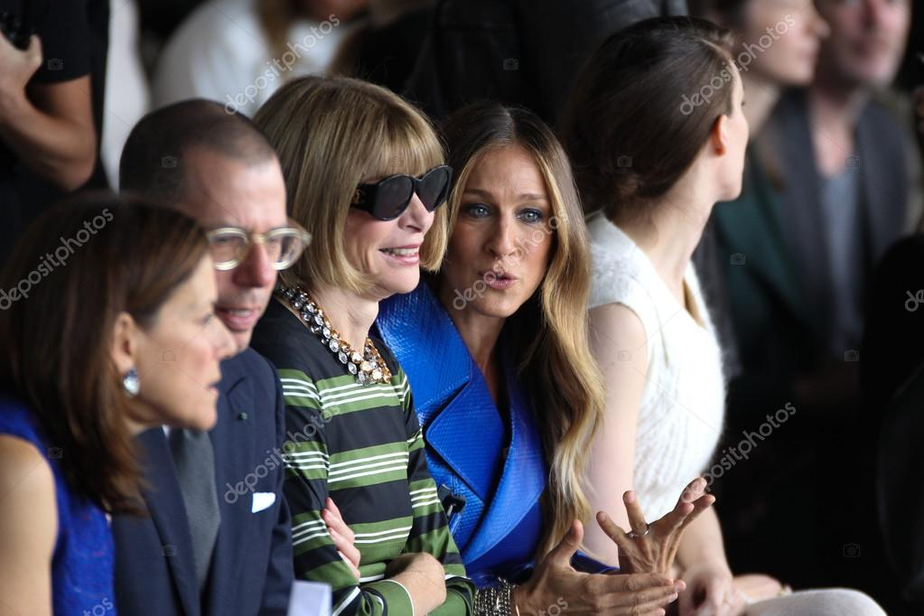 Artistic director for Conde Nast Anna Wintour and Sarah Jessica Parker and Rooney Mara attend the Calvin Klein Collection fashion show