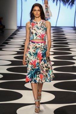 Model walks the runway at Nicole Miller during Mercedes-Benz Fashion Week