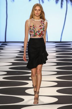 Model walks the runway at Nicole Miller during Mercedes-Benz Fashion Week