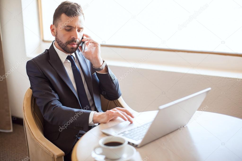 Businessman making business call — Stock Photo © tonodiaz ...