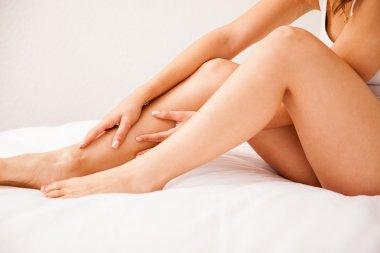 Closeup of smooth female legs