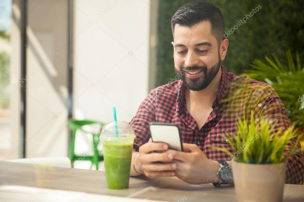 Young man using a smartphone