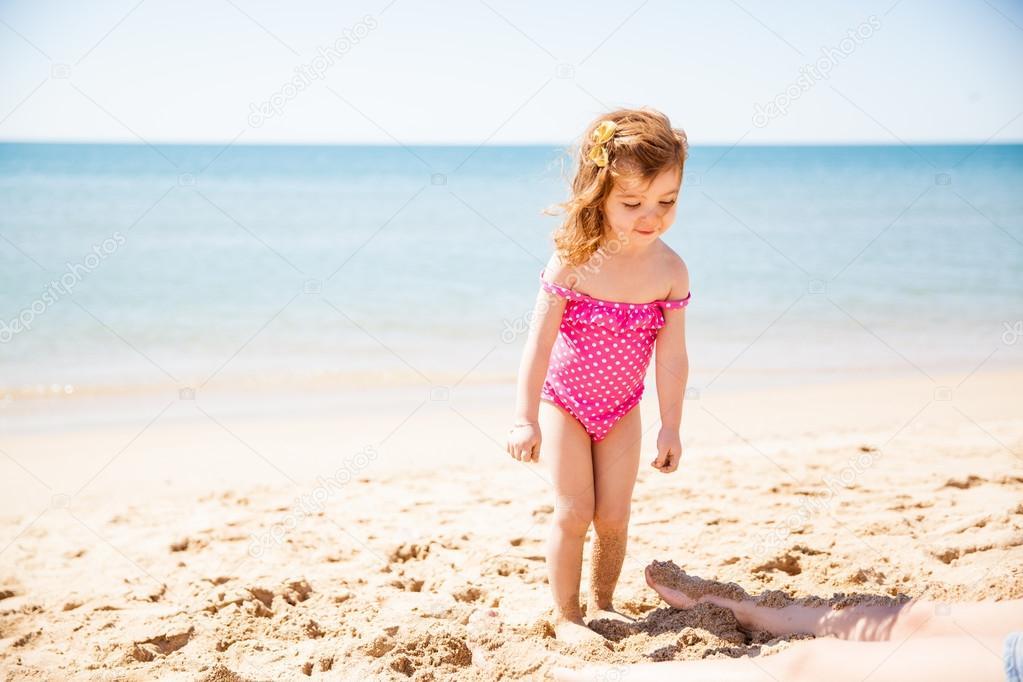 Girl in a bathing suit having fun
