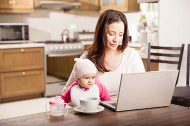 single mom working at home