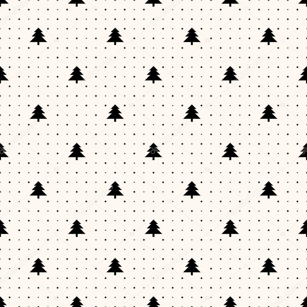 Vector seamless retro pattern, christmas trees — Stock Vector ...