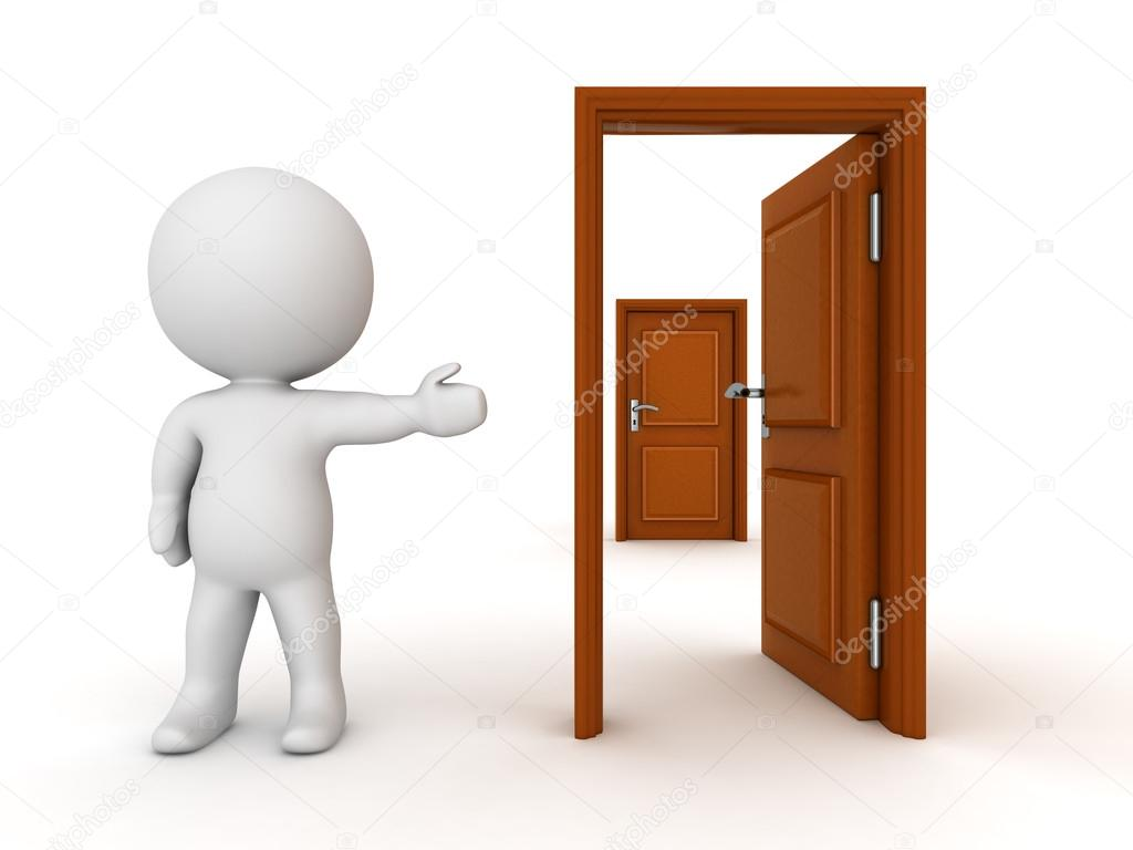 3D Character Showing Closed Door Behind Open Door