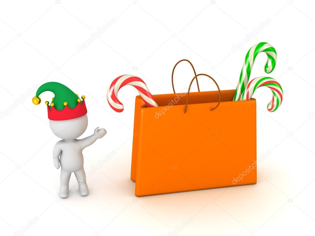 fc5772f9ab6e7 Small 3D character with elf hat showing a large gift bag filled with colorful  candy canes. Isolated on white background. — Photo by Lucian3D
