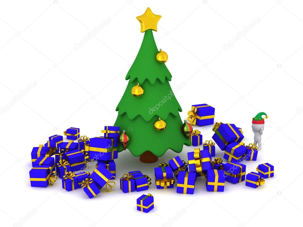 3d character and too many gifts around the christmas tree stock photo - How Many Gifts For Christmas