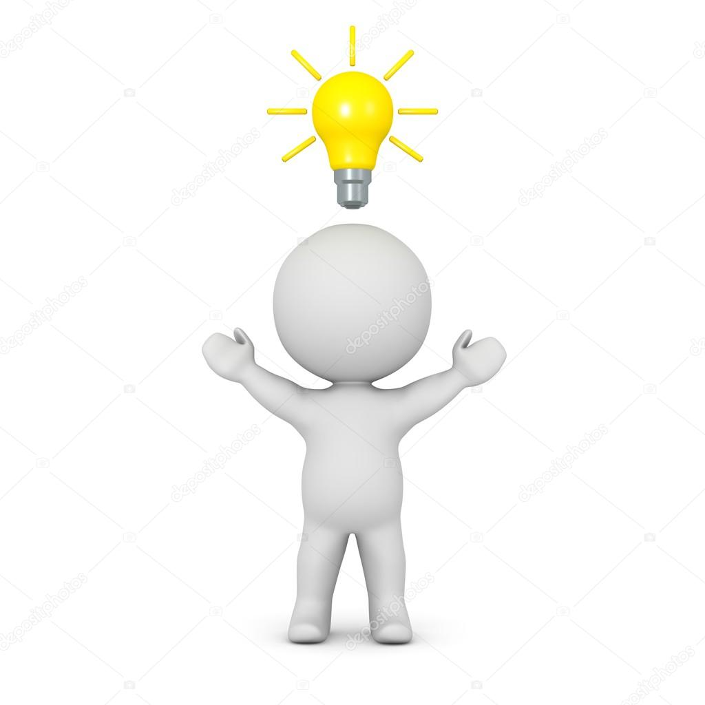 3D Character with Light Bulb Above His Head — Stock Photo © Lucian3D ... for Idea Light Bulb Over Head  166kxo
