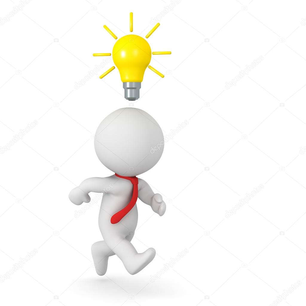 3D Character Running with Light Bulb above His Head - Implement ... for Idea Light Bulb Over Head  75sfw