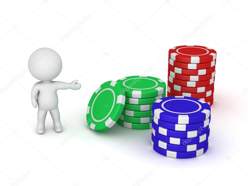 Personnage 3d Montrant Trois Pile De Jetons De Poker Photographie