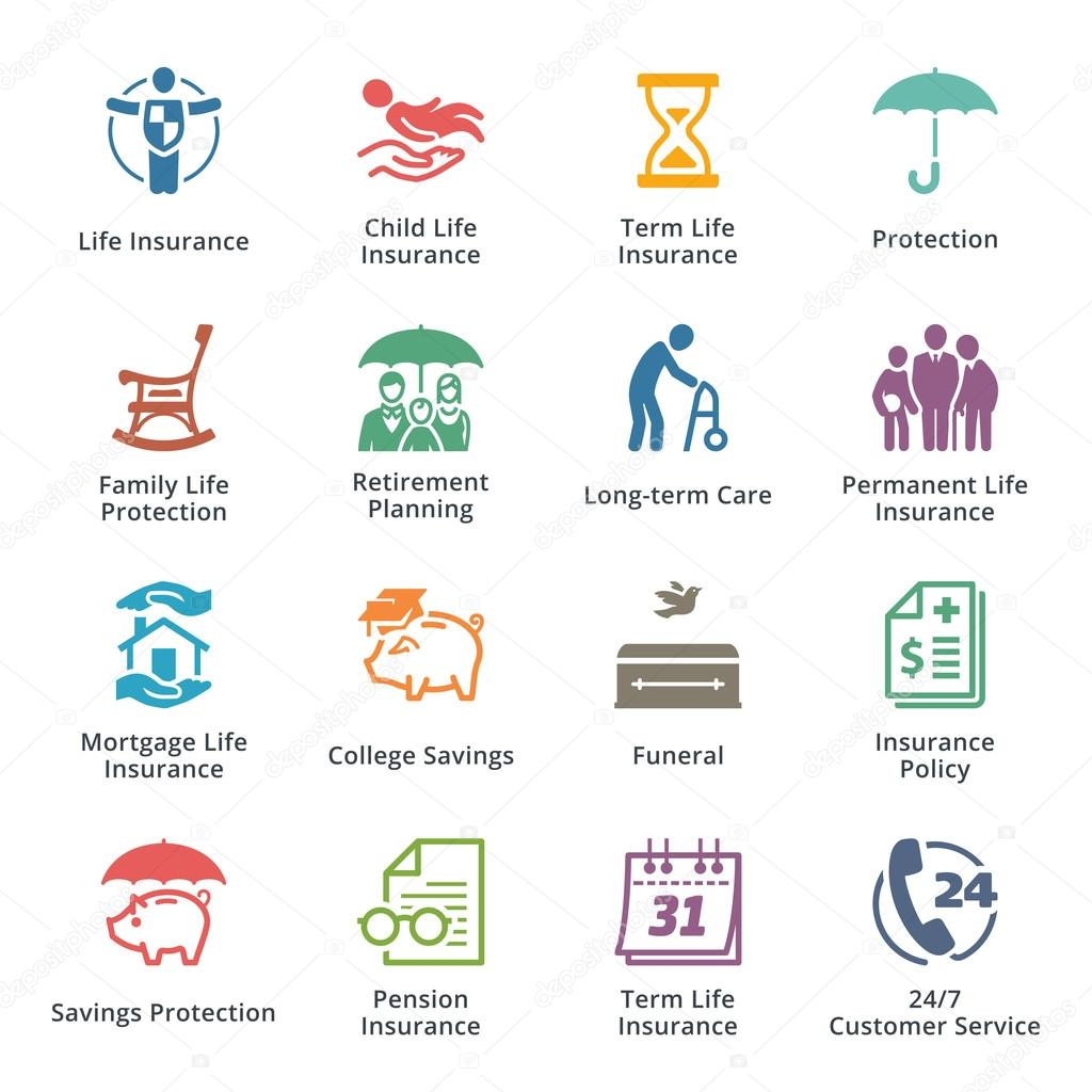 Life Insurance Icons Colored Series Stock Vector C Introwiz