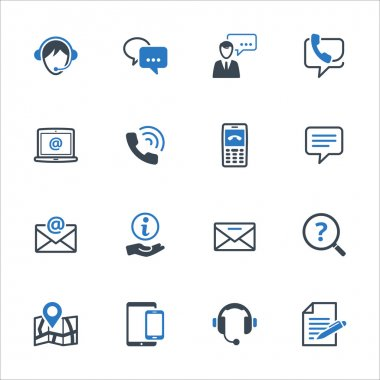 Contact Us Icons Set 3 - Blue Series