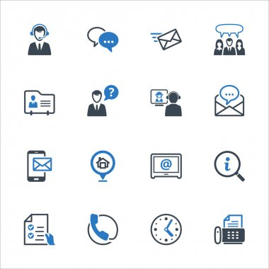 Contact Us Icons Set 2 - Blue Series