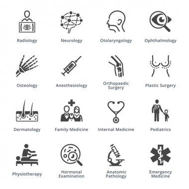 Medical Specialties Icons Set 3 - Black Series