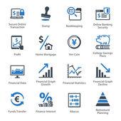 Osobní  obchodní Finance ikony Set 3 - modrá řada